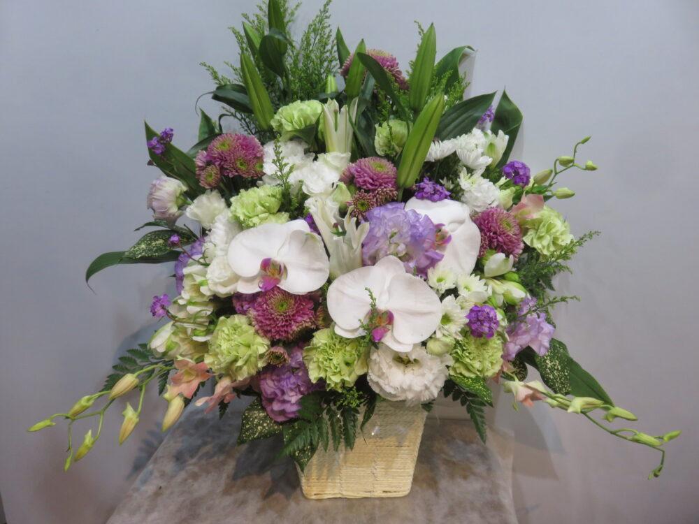 【御供・法事】胡蝶蘭・ユリメインの花もちの良いアレンジメント